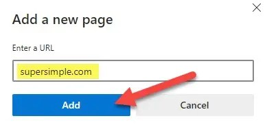 enter a URL and click add