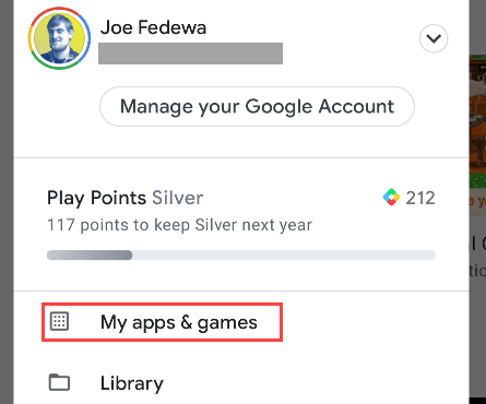 """select """"My Apps and Games"""" from the menu"""