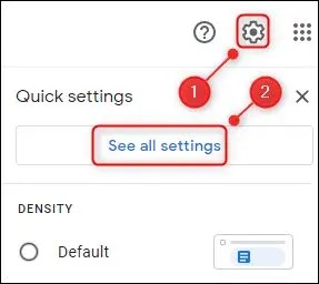 """The settings cog and the """"See all settngs"""" option."""