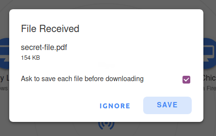 File Received dialog with ignore and save buttons