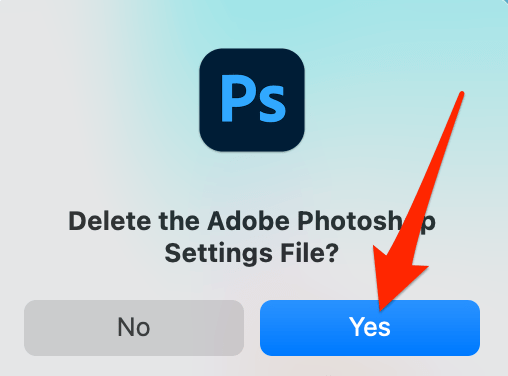 Select Yes in the delete prompt in Photoshop
