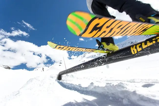image showing blurry moving skier