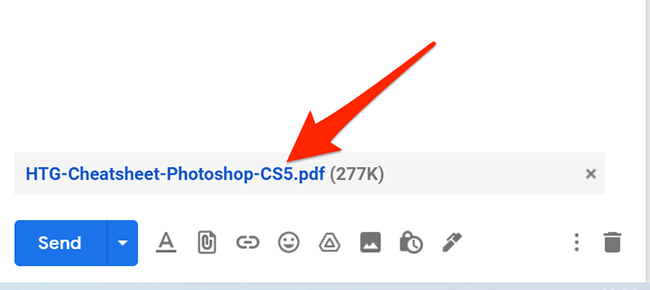 When you paste non-image files into Gmail's compose window, they will appear in a list at the bottom of the message.