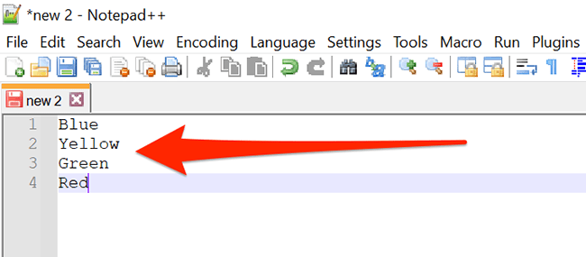 Another newline-separated item list in Notepad++.