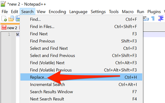 Select Search > Replace in Notepad++.