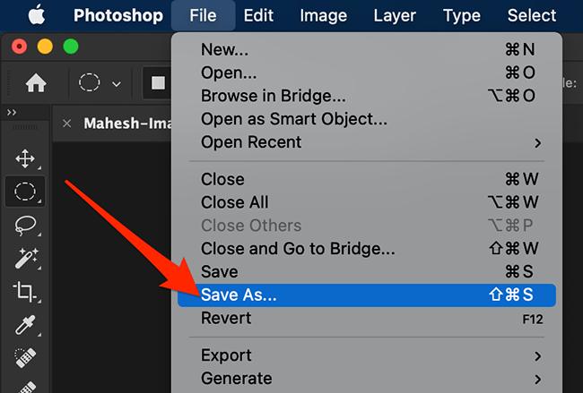 Select Save As from Photoshop's File menu