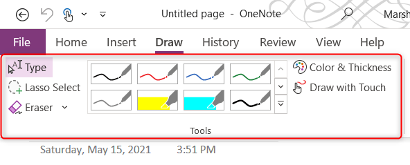Drawing tools in Microsoft OneNote