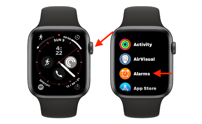 """Press the Digital Crown from the watch face, and open the """"Alarms"""" app."""
