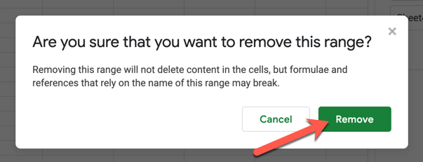 To confirm the removal of a saved name range, press the