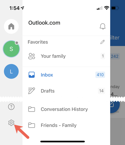 Tap Profile, Settings in Outlook