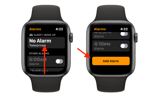 """Scroll up in the Alarms app on Apple Watch and tap the """"Add Alarm"""" button."""