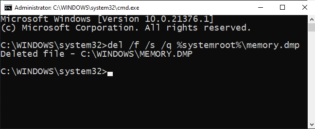 Type memory dump file deleting command in the Command Prompt