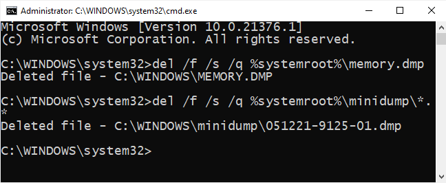 Type minidump files deleting command in the Command Prompt