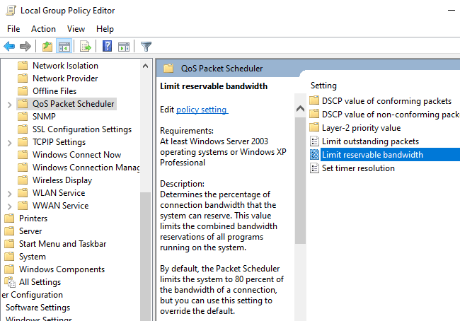 """The """"Limit reservable bandwidth"""" setting in Windows 10's Group Policy Editor."""