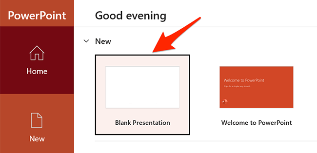 """Select """"Blank Presentation"""" on the PowerPoint window."""