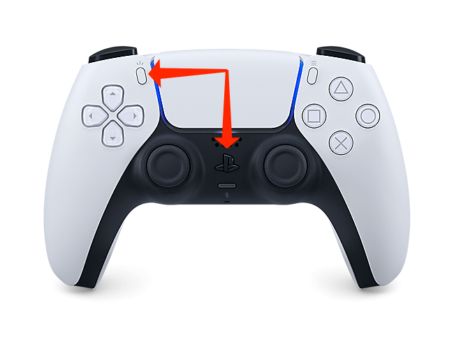 Hold the PlayStation button and the Create button to put the PS5 controller in Bluetooth pairing mode