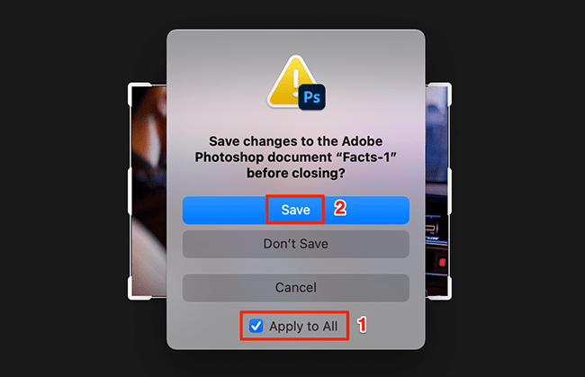 Photoshop's save prompt.
