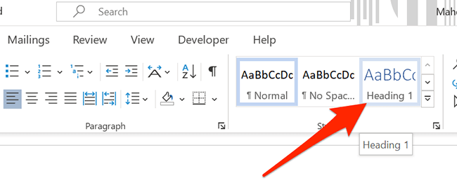 """Apply """"Header 1"""" style to a header in a Word document."""