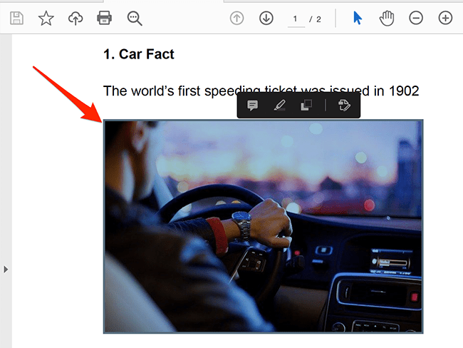Select the image to extract from a PDF in the Acrobat Reader window.