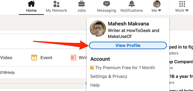 """Click """"View Profile"""" on the LinkedIn site."""