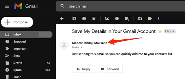 Hover mouse over the email sender's name in Gmail.