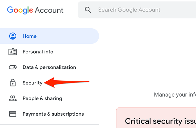 """Select """"Security"""" on Google My Account site."""