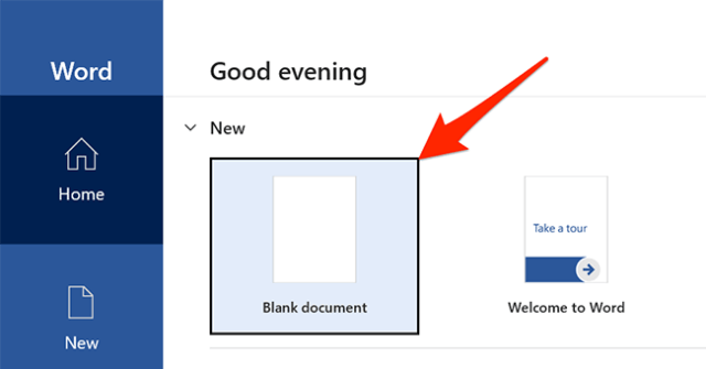 """Click """"Blank document"""" in Word's main interface."""