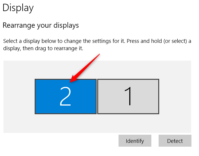 Select the monitor you want to examine on the Display page