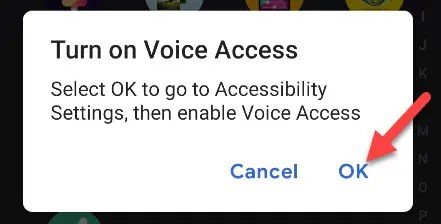 Give Voice Access accessibility permissions.