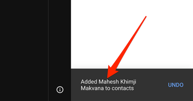 """Gmail's """"Added to Contacts"""" message."""