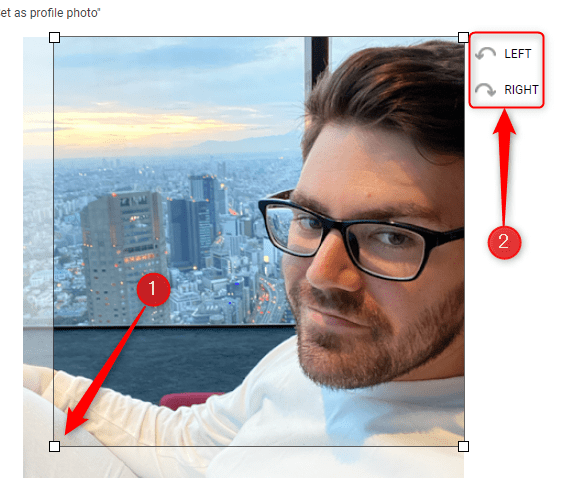 Rotate and click and drag the four handles to crop the new profile picture.