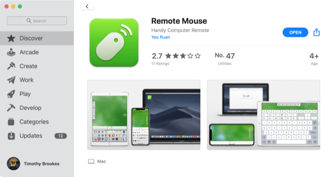 Mac App Store Remote Mouse