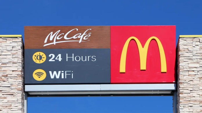 A McDonald's sign promising Wi-Fi 24 hours a day.