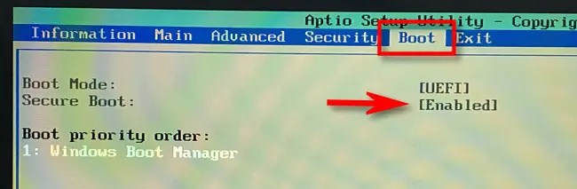 """In your UEFI's """"Boot"""" menu, look for """"Secure Boot"""" and """"Enabled."""""""