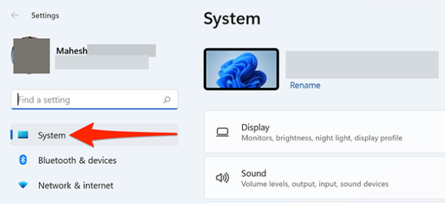 """Select """"System"""" in Settings on Windows 11."""