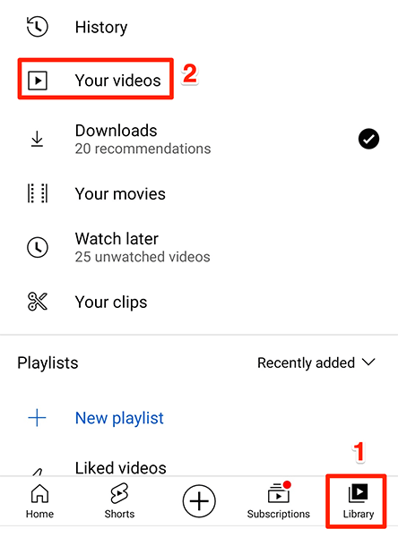 Access uploaded videos at Library > Your Videos in the YouTube app.
