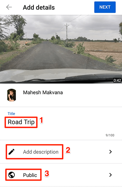 """Enter video details on the """"Add Details"""" page in the YouTube app."""