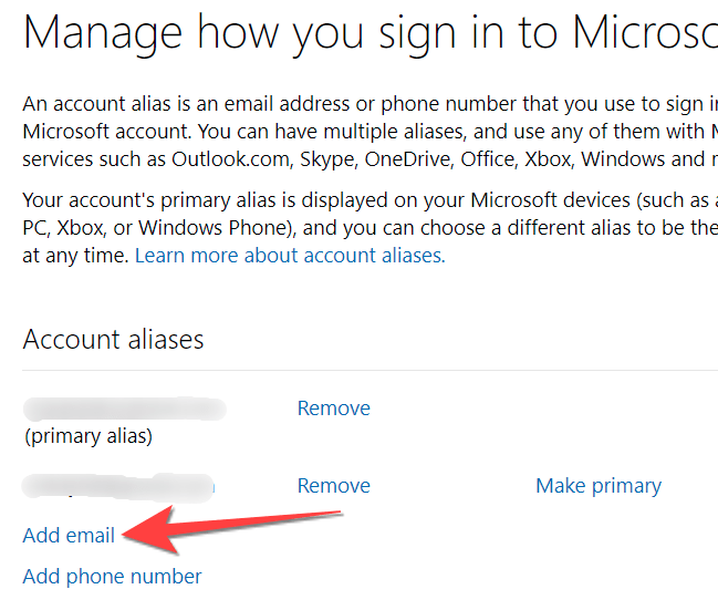 """Select """"add email"""" option to add a new email address as an alias to your Microsoft account."""