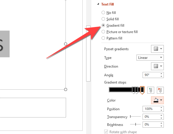 """Select """"Gradient Fill"""" to reveal the options to customize the gradient style and colors."""