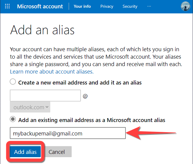 """Type in the email address and select """"Add Alias"""" button."""