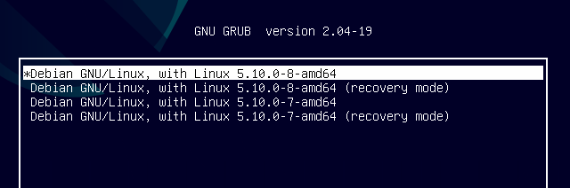 Two kernels with recovery mode options listed as boot options in GRUB on Debian 11