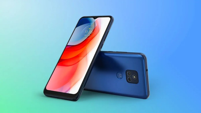 Moto G Play 2021 on a blue background