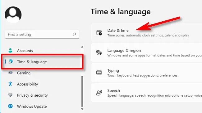 """In Windows 11 Settings, select """"Time & Language,"""" then click """"Date & Time."""""""