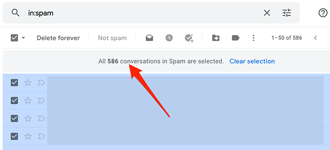 All emails of a folder are selected in Gmail.
