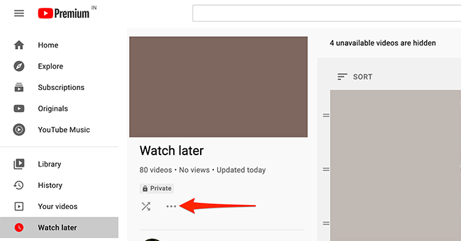 """Click the three-dots menu on YouTube's """"Watch Later"""" page."""