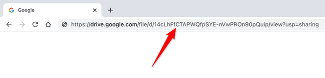 Copy the unique file ID from the Google Drive file link.