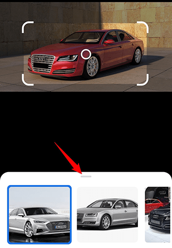 Drag the bottom section upwards to view the search results in Google Lens.