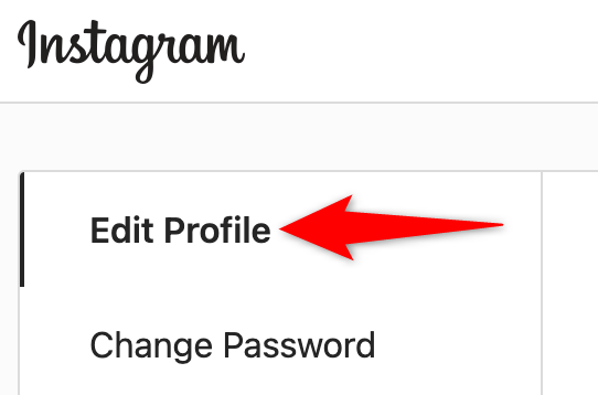 """Select """"Edit Profile"""" in settings on the Instagram site."""