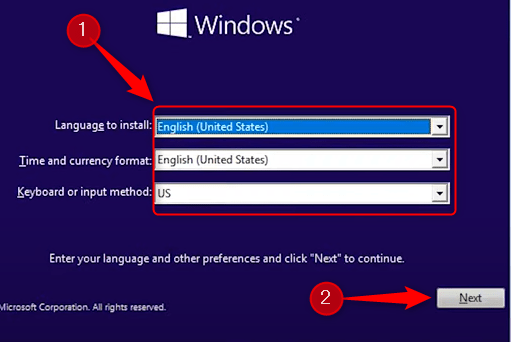 Choose language to install, time and currency format, and keyboard and input method.