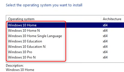 Click the OS you want to install.